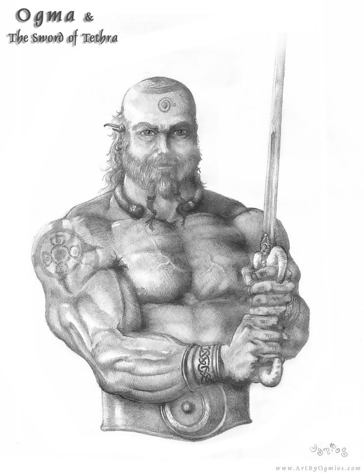 Ogma e a Espada de Tethra. Crédito - https://www.deviantart.com/ogmosis/art/Ogma-and-the-Sword-of-Tethra-181593306