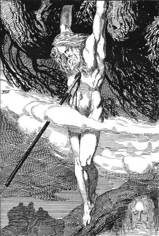 Odin, sua lança e Yggdrasil
