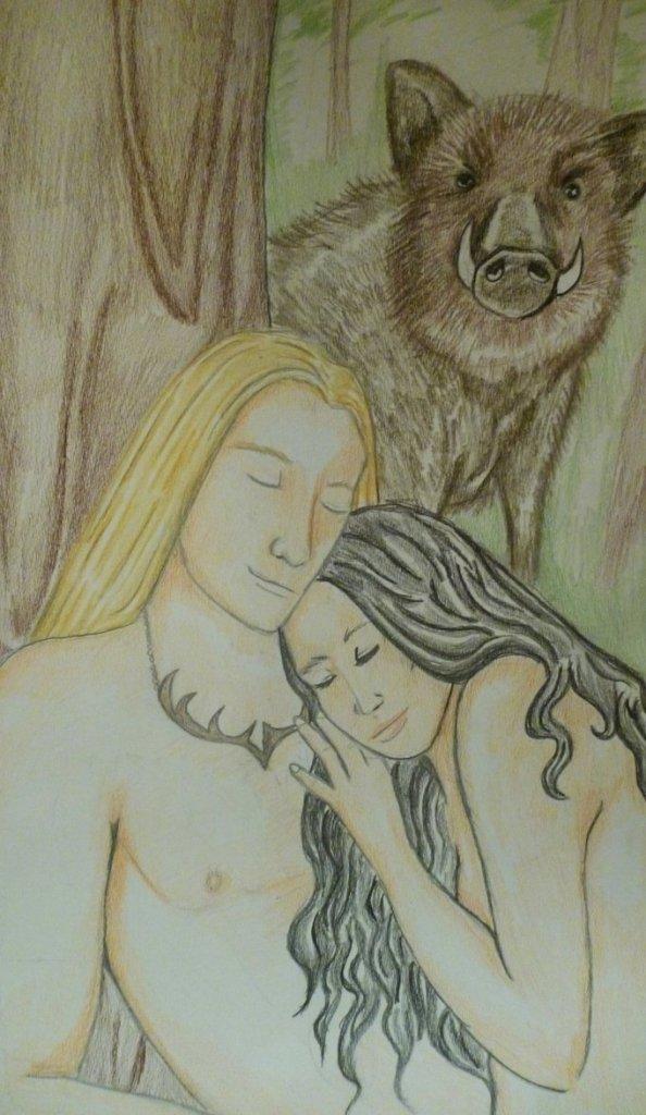 """Freyr_and_Gerd""_by_mariela_natalia. Fonte: https://www.deviantart.com/mariela-natalia/art/Freyr-and-Gerd-505817273"