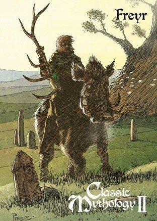 Freyr e o javali Gullinbursti. Crédito - https://www.deviantart.com/pernastudios/art/Freyr-Base-Card-Art-Richard-Pace-440501504
