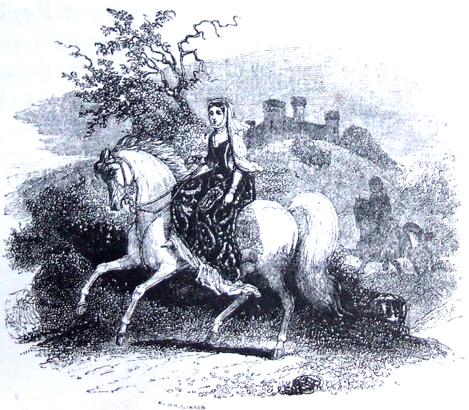 """Deusa Rhiannon. Crédito - """"Rhiannon riding in Arberth. From The Mabinogion, translated by Lady Charlotte Guest, 1877"""""""