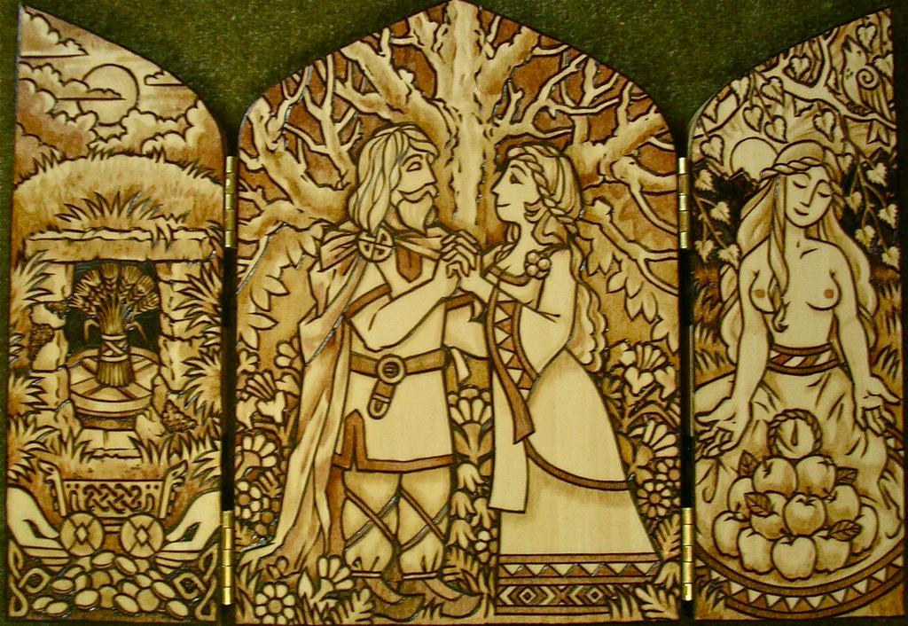Freyr e Gerd representados em um tríptico (obra pintada ou esculpida sobre três suportes articulados) Crédito – https://www.flickr.com/photos/jesseca_trainham/12793117114/in/photostream/