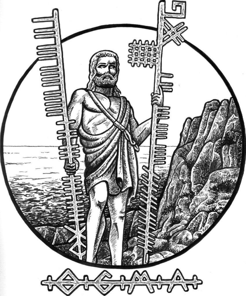 Ogma e o alfabeto Ogham. Autoria desconhecida