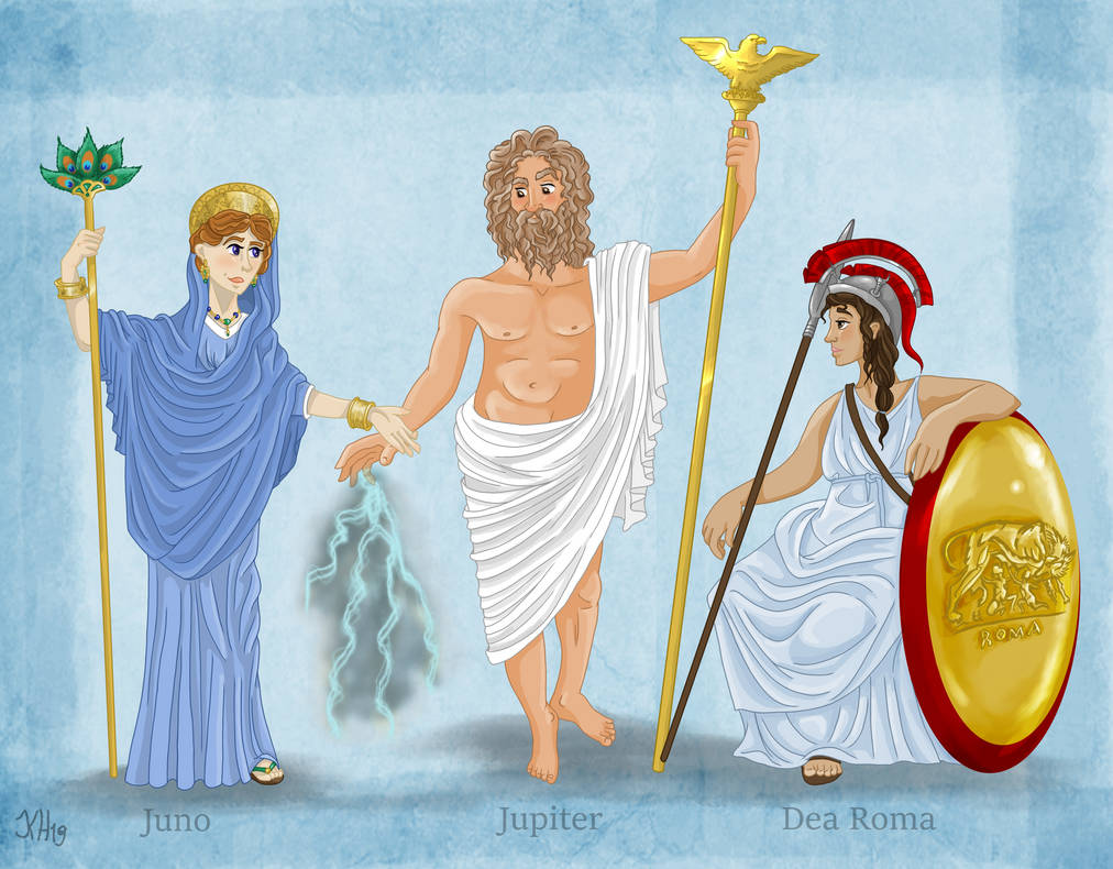 Deusa Juno, Deus Júpiter e Deusa Dea Roma. Fonte: https://www.deviantart.com/pelycosaur24/art/Gods-of-Rome-II-811750932