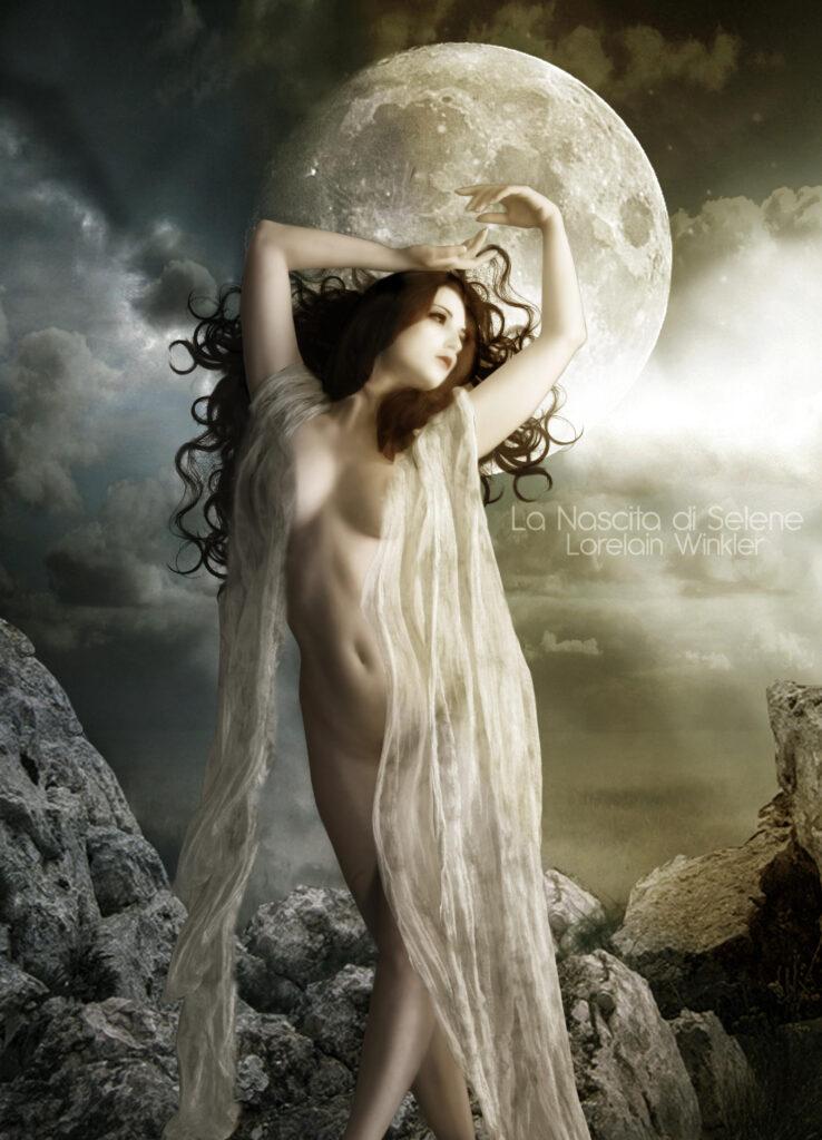 Deusa Selene. Fonte: https://www.deviantart.com/lorelainw/art/Selene-The-Moon-Goddess-180643098