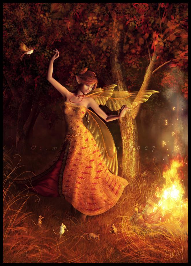 Samhain. Fonte: https://www.deviantart.com/cosmosue/art/Fire-Dance-68883302