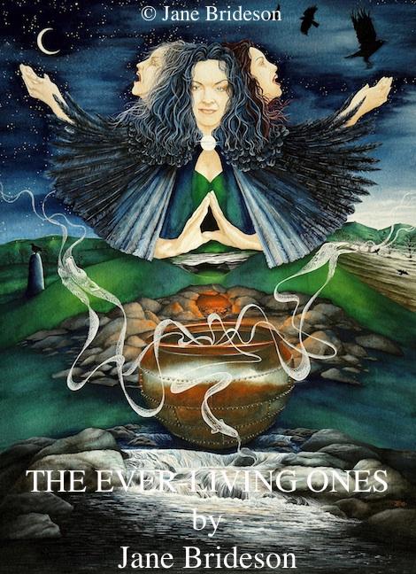 Deusa Morrigan e, próximo ao caldeirão, as representações de algumas de suas formas: lobo, enguia e corvo. http://theeverlivingones.blogspot.com/p/gallery-of-goddesses.html