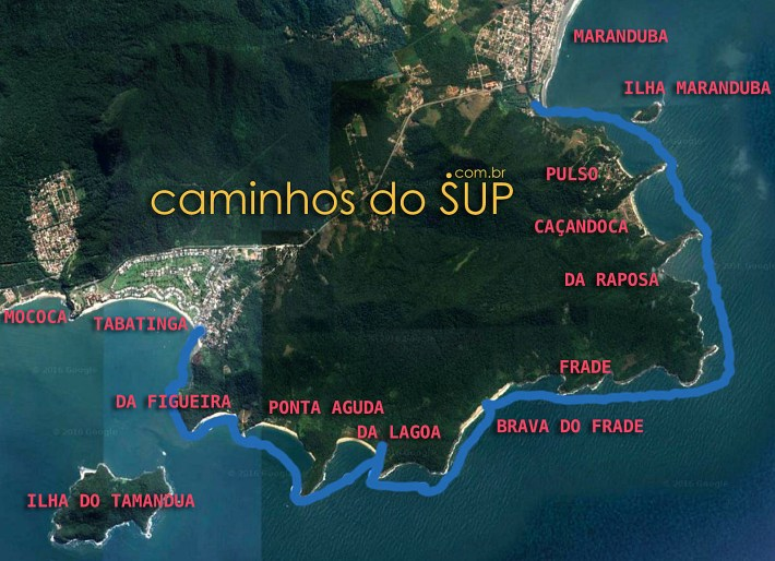 Mapa da travessia de SUP da Praia Tabatinga à Praia Maranduba, de Caraguá à Ubatuba