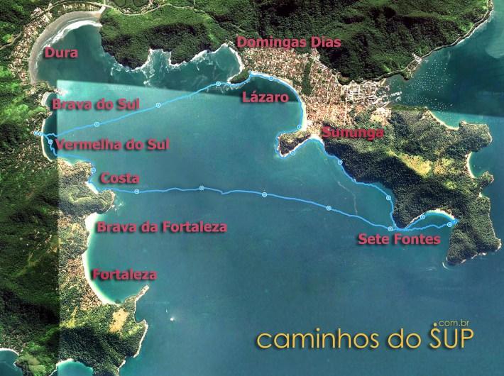 Mapa da travessia de SUP, saindo da Praia Vermelha do Sul e passando pelas praias do Lázaro, Sete Fontes e Costa