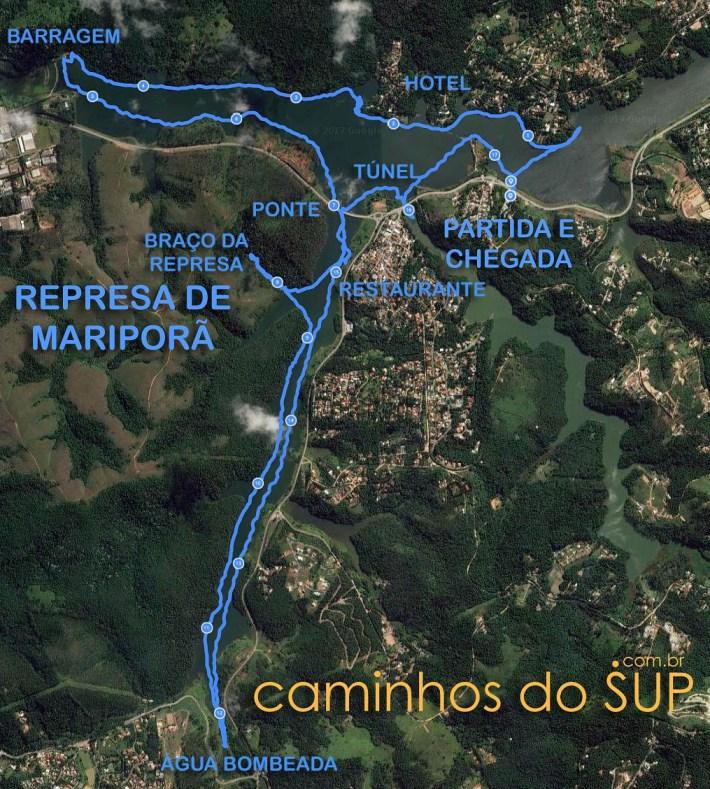 Mapa da travessia de SUP na Represa de Mairiporã