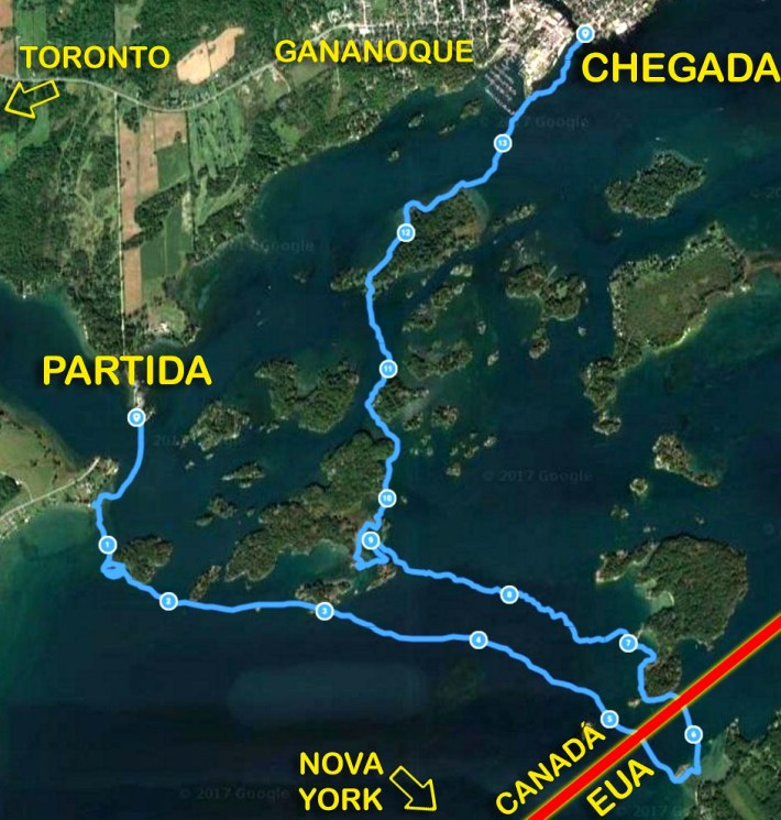 Mapa da travessia de Stand Up, passando por Canadá e Estados Unidos