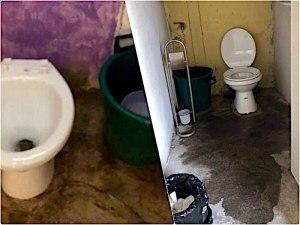 タイのトイレ水道付きと水桶のみの2つ