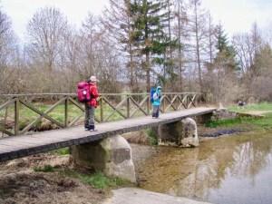 片側手摺り木の橋二人