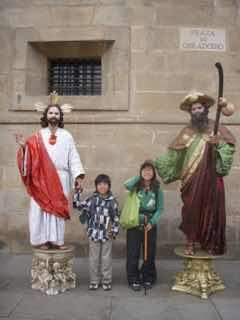 サンティアゴ大聖堂前 大道芸ヤコブ caminoスペイン巡礼