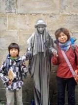 サンティアゴ大聖堂前 大道芸シルバー caminoスペイン巡礼