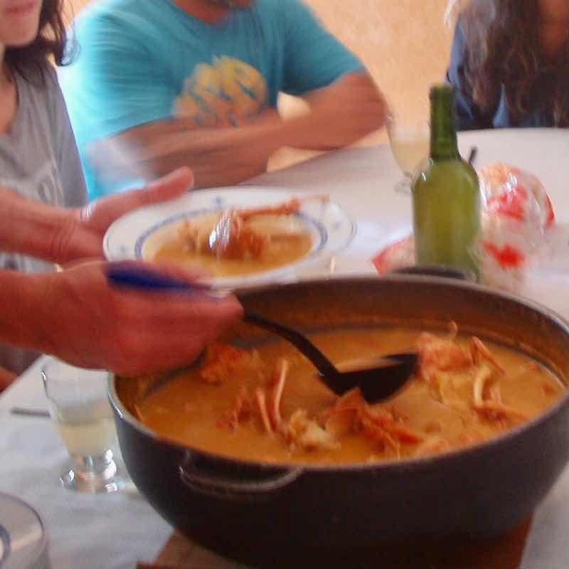618メノルカ島Menorca  伊勢エビスープ鍋盛り
