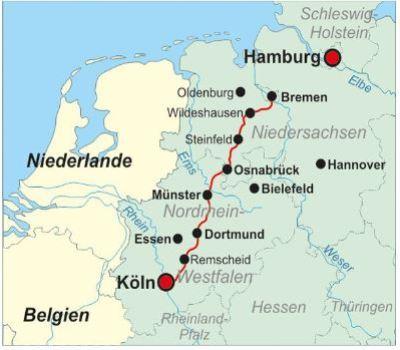 Karte - der Jakobsweg von Bremen bis nach Köln