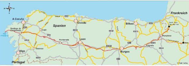Karte des Camino Francés