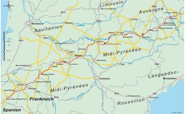 Karte zum Verlauf der Via Podiensis