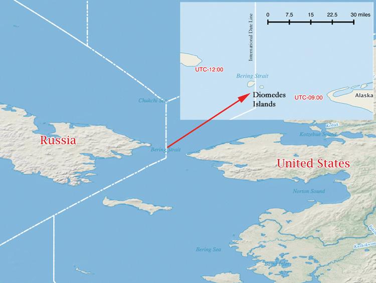 Islas separadas por 2,5 millas con una diferencia de 20 horas