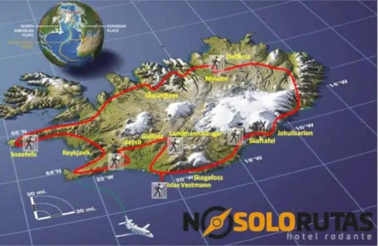 Mapa vuelta a Islandia