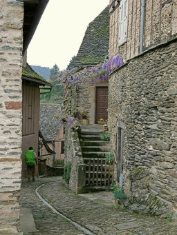 Winding through a French town