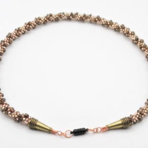 Brown tones Dimensional Kumihimo Czech Glass Necklace