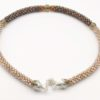 Shades of brown Kumihimo Czech Glass Necklace