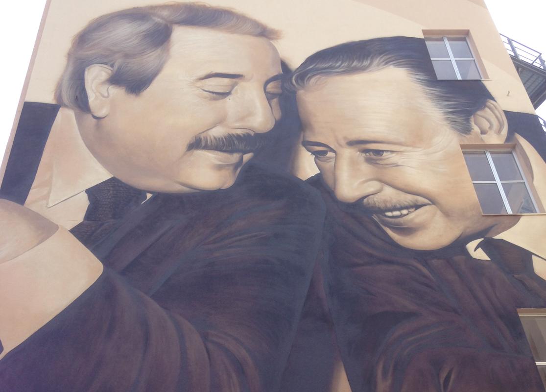 Il murales di Falcone e Borsellino a Palermo