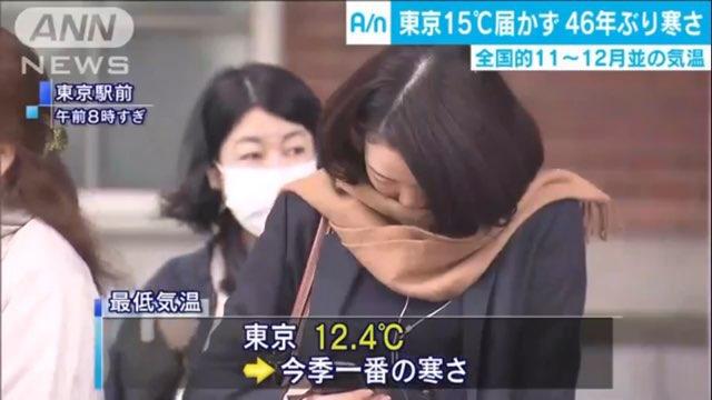 Nhiệt độ ở Tokyo xuống chỉ còn hơn 12 độ