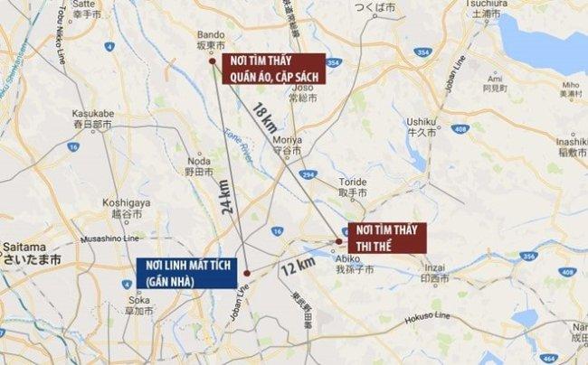 Sơ đồ vị trí vụ sát hại bé Nhật Linh. Xe của nghi phạm Shibuya xuất hiện ở cả nơi tìm thấy các vật dụng lẫn bờ sông nơi phát hiện thi thể Linh. Ảnh: Google Maps.