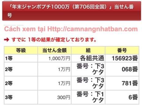 Kết quả xổ số Nhật Bản 年末ジャンボプチ1000万(第706回全国)