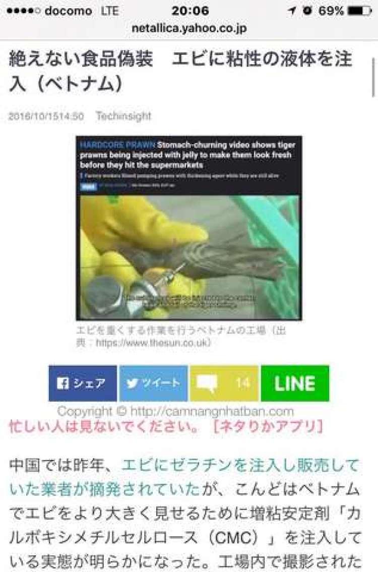 Vụ tôm Việt Nam bị tiêm chất lỏng lên báo Nhật