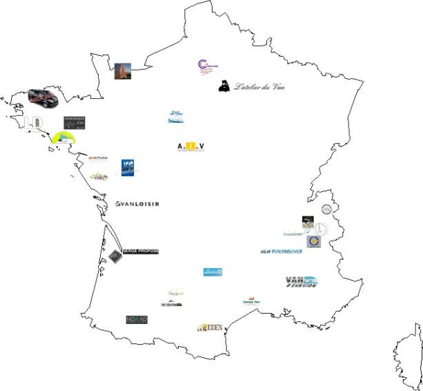 carte de France des aménageurs de van sur-mesure