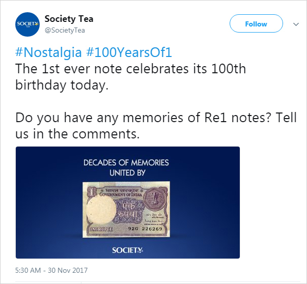 Society Tea celebrate 100 Years of 1 Rupee currency