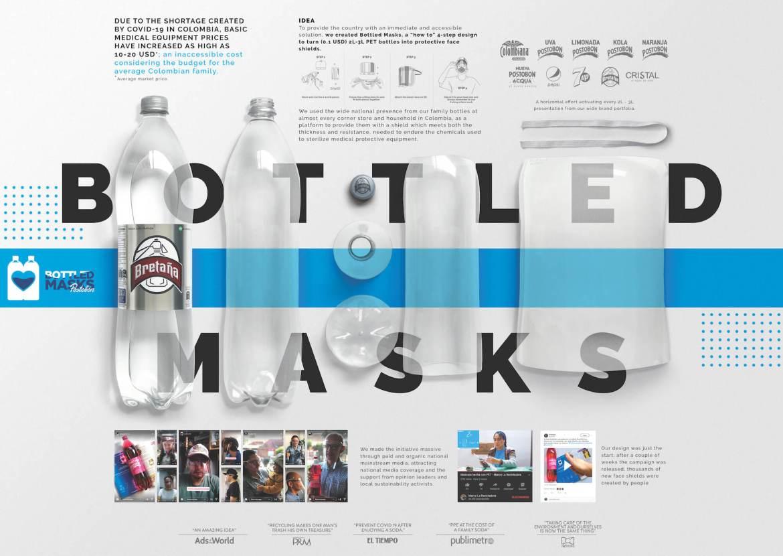 Postobón : Bottled Masks | Low-cost face shields worth around 0.5 USD