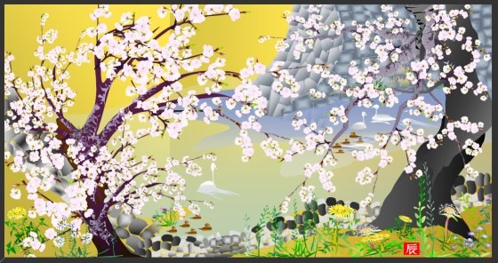 "tatsuo-horiuchi-Cherry Blossoms at Jogo Castle"" (2006)jpg"