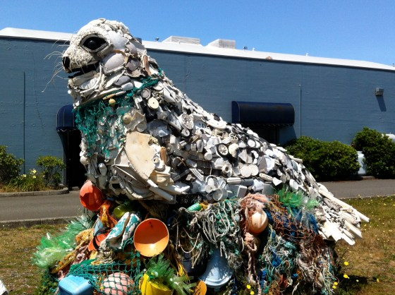 A sea lion made of plastic washed up from the ocean in downtown Bandon