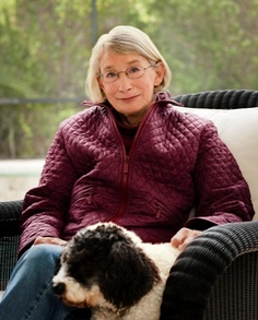 Mary Oliver with one of her dogs