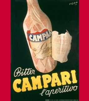 A gallery of Campari ads from the 20s to the 50s