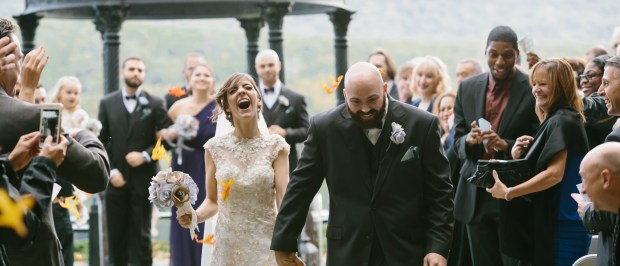 Bride and Groom Finish Ceremony in the Poconos