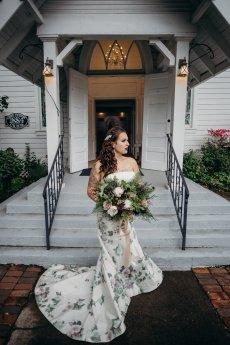 Non Traditional Bride outside chapel in Portland Oregon