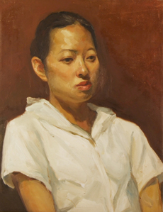 Woman with white shirt - painting - Jeffery Chong Wang
