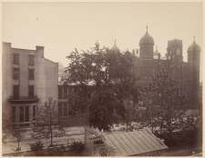 View from the master bedroom balcony at the Campbell House ca. 1885. The building at right is STL's first public high school.