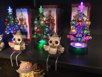 Ornamental lit Christmas Trees