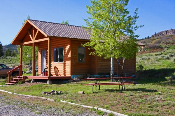 Cozy Cabin camping option at Blue Mesa Escape, west of Gunnison Colorado