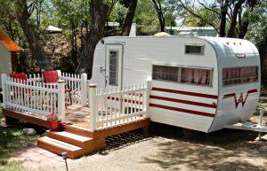 Vintage RV travel trailer for rent at Cedar Creek RV Park in Montrose CO