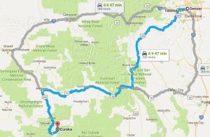 Eureka Campground is located 8 miles north of Silverton CO, several hours from Denver