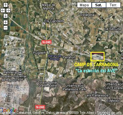 LA ESTACION DEL AVE DE CAMP DE TARRAGONA - MAPA DE GOOGLEMAPS