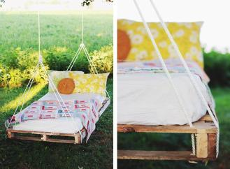 wooden swing bed